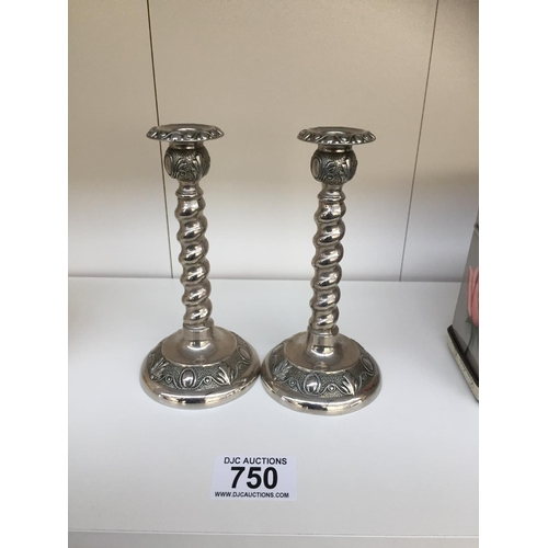 750 - 2 x Silver Plated Candle Sticks...