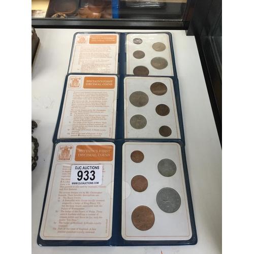933 - 3 x Decimal Coin Sets...