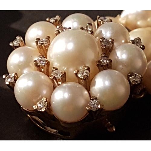 835 - 9ct Gold, Semi Baroque Pearl & Diamond Necklace, Bracelet & Earrings. Approx 1ct of Diamonds. Handma...