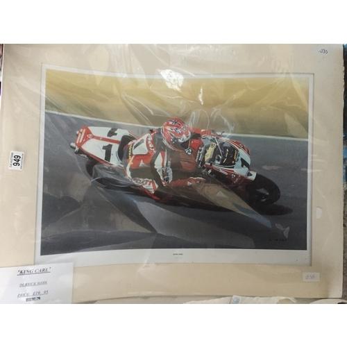 949 - Large Carl Fogarty Motorbike Print - New...