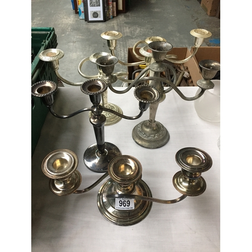 969 - 5 x Silver Plated Candelabras...