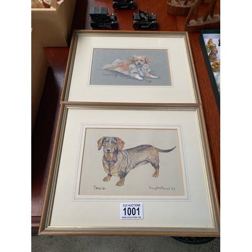 1001 - 2 x Framed Dog Prints...