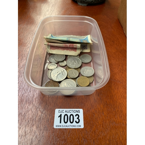 1003 - Box of Foreign Coins & Banknotes...