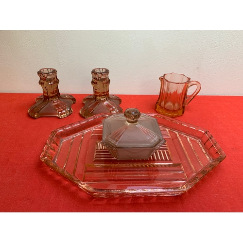 29 - Pink Glass Dressing Table Set...