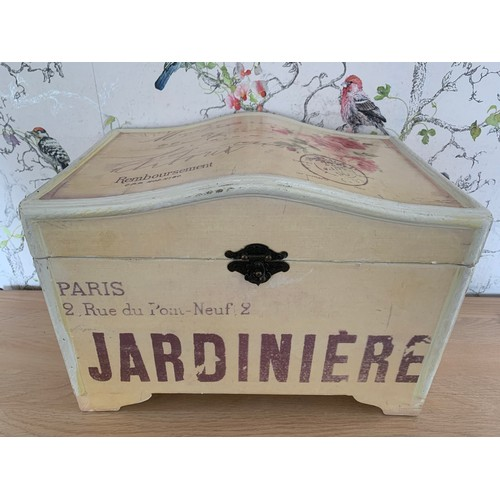 2 - Wooden Jardiniere Paris Storage Box - 34cms Width x 22cms Depth x 25cms Height