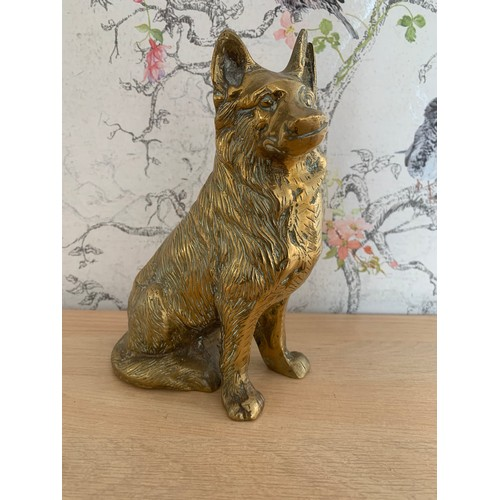 44 - Heavy Brass Dog Figure - 19cms Height