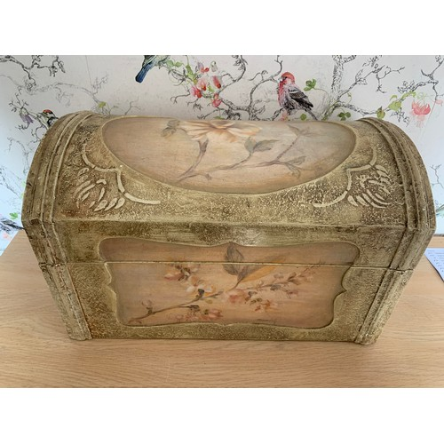 50 - Hand Painted Dome Top Chest - 43cms Width x 25cms Depth x 26cms Height