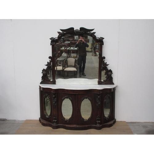 16 - A Victorian mahogany mirror-backed Sideboard....