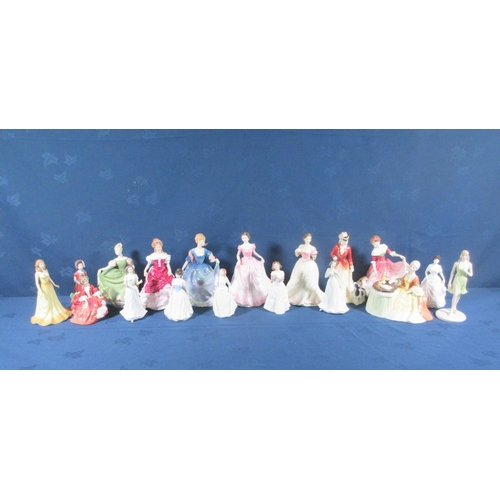 17 - Seventeen Royal Doulton Figurines and another by Coalport....