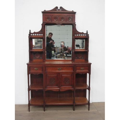 19 - A Victorian walnut mirror-backed Sideboard....