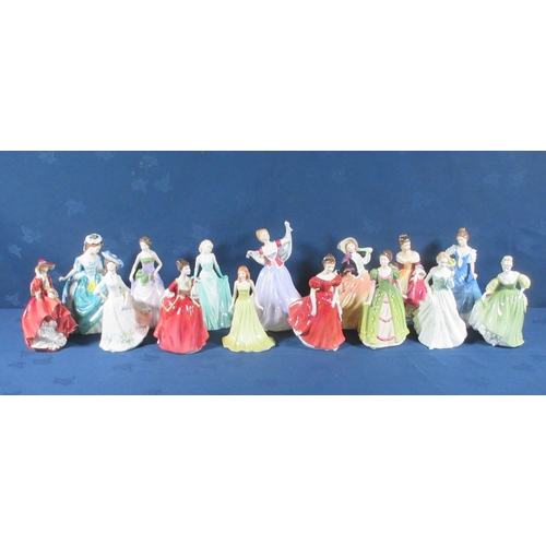 20 - Fourteen Royal Doulton Figurines and another by Coalport....