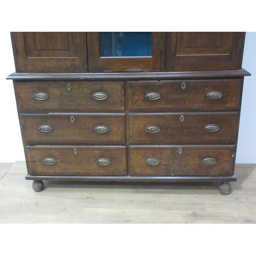 24 - A 19th Century oak enclosed Dresser with six drawers beneath 6ft 8in H x 5ft W...