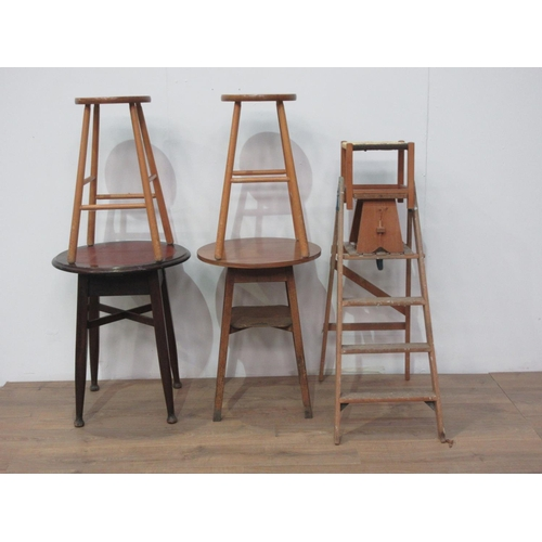 30 - Two circular Pub Tables, two Bar Stools, two small Stools and a wooden Step Ladder....