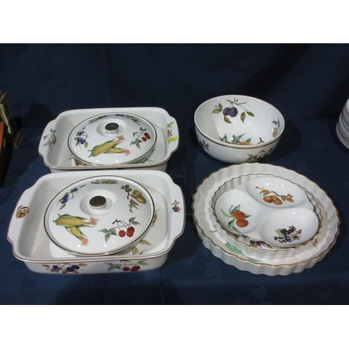 50 - Nine pieces of Royal Worcester Evesham pattern Kitchenware, including Oven Dishes, Flan Dishes, etc....