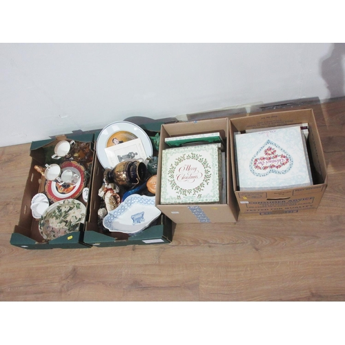 53 - Five boxes of various China, including Christmas Plates, Valentine's Day Plates, etc....