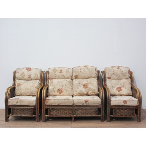 10 - A bamboo and rattan three piece Conservatory Suite...