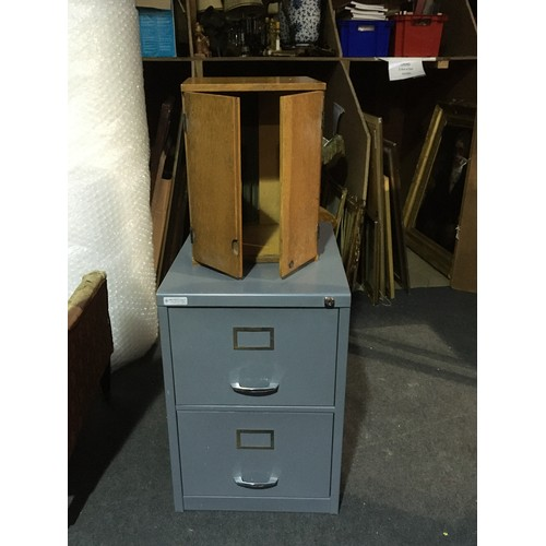 11 - A metal Filing Cabinet 2ft 3in H x 2ft D x 1ft 7in W and an oak two door Cabinet 1ft 6in H x 1ft 2in...