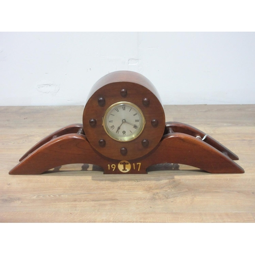 351 - A mahogany Mantel Clock made from a propeller, possibly a 1st World War fighter, dated 1917, 2ft 3in...