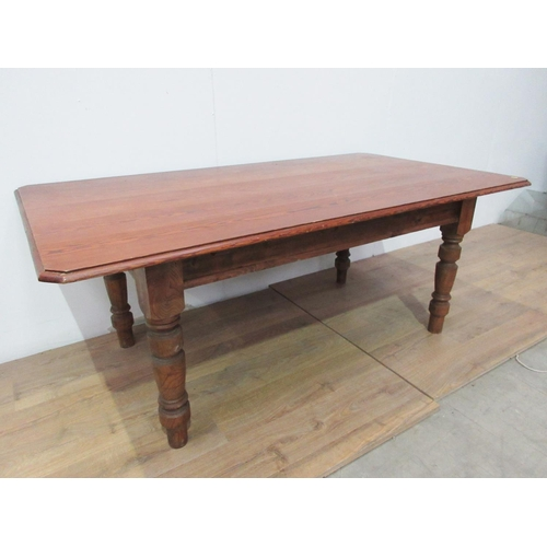 423 - A Victorian pitch pine topped Farmhouse Table with chamfered corners mounted upon turned supports 6f...