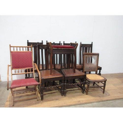 120 - A set of six oak slat back Dining Chairs with drop in seats, a Bedroom Chair, a Folding Chair and a ...