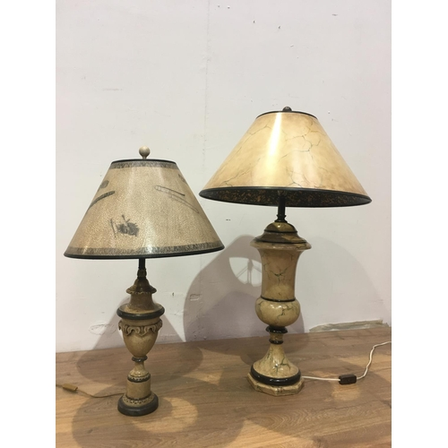139 - Two Table Lamps with crackleware and marble effect painted columns and shades 3ft H and 2ft 6in H (p...