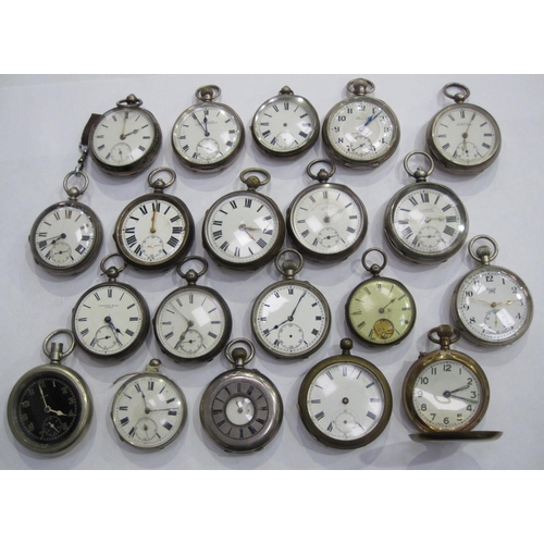 153 - A collection of twenty various Pocket Watches, some silver cased, A/F....