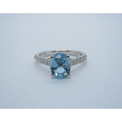 178 - An Aquamarine and Diamond Ring claw-set oval-cut aquamarine, 1.20cts, with brilliant-cut diamonds, p...
