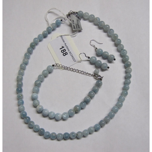 188 - An Aquamarine bead Necklace on clasp stamped 925 together with matching Bracelet and Earrings....