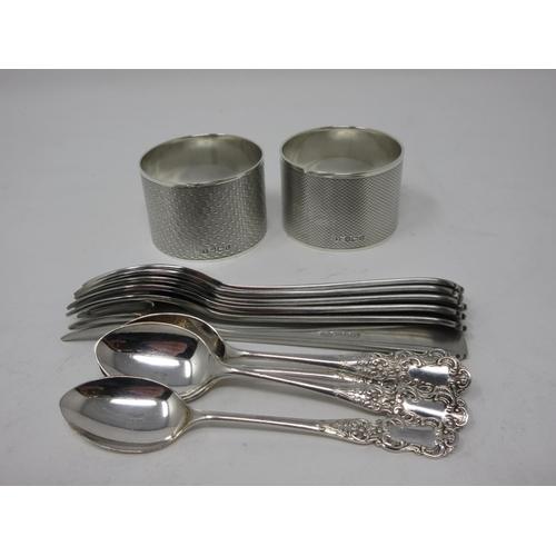 242 - Two Edward VIII heavy silver circular Napkin Rings, engine turned, Sheffield 1936, six plated Coffee...