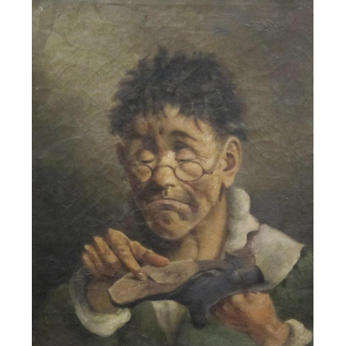 306 - ASCRIBED TO SEPTIMUS DAWSON. A cobbler, oil on canvas, 20 x 16in....