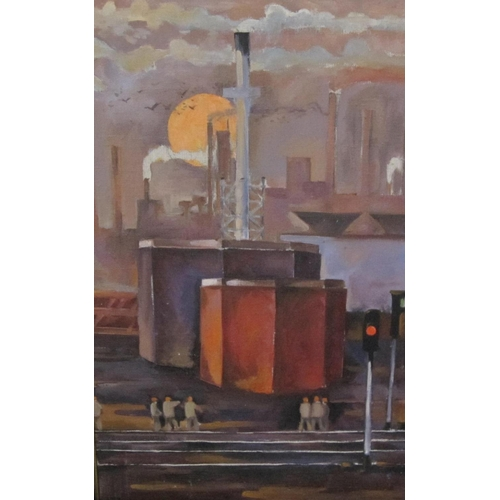 320 - RUSSIAN SCHOOL, LATE 20TH CENTURY. Industrial landscape, oil on canvas board, 25 x 15in; a lithograp...