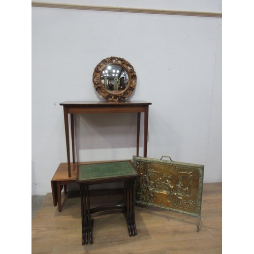 362 - A nest of three reproduction mahogany Tables, a mahogany Side Table 3ft W, a dropleaf Coffee Table, ...