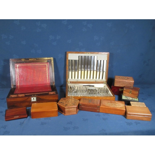 381 - A 19th Century rosewood and inlaid Writing Slope, an oak Canteen of plated cutlery and various Trink...
