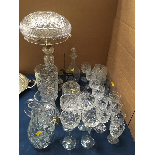 39 - A cut glass Table Lamp and Shade, an etched Decanter and Stopper, Vase, Jugs, Wine Glasses and Tumbl...