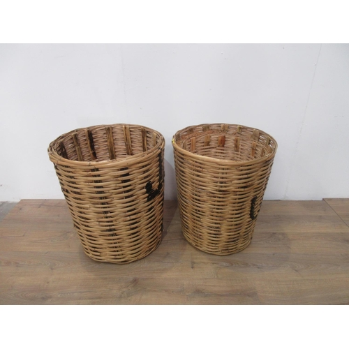 409 - Two woven bamboo Linen Baskets 2ft 2in H...
