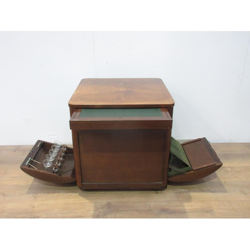 415 - An Art Deco style mahogany veneered Coffee Table with pull out drinks and record compartment 2ft W...