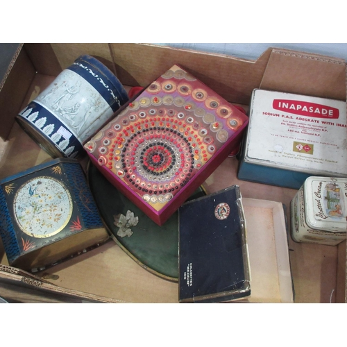 456 - Two boxes of Jewllery Boxes, Purses, Tins, pewter Comport, etc...