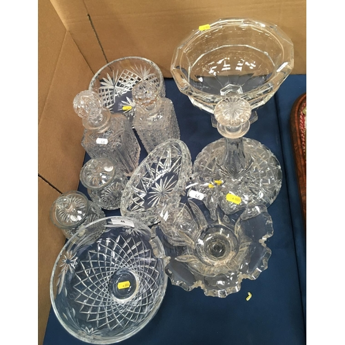 46 - Two cut glass square Decanters, a Ship's Decanter, four Rose Bowls, pair of Preserve Jars, another J...