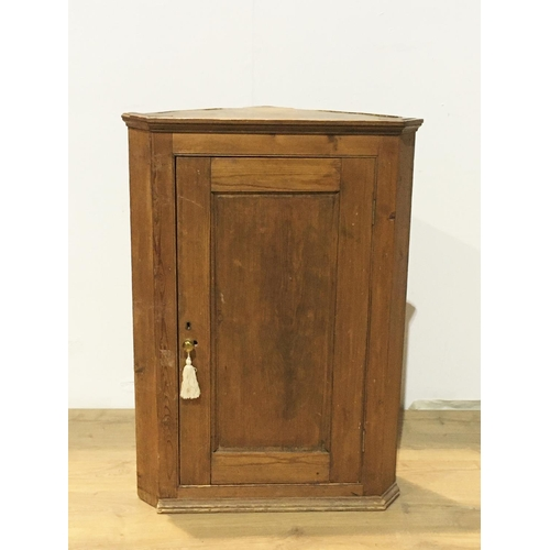 460 - A 19th Century pine hanging Corner Cupboard fitted single panel door 3ft 7in H x 2ft 6in W...
