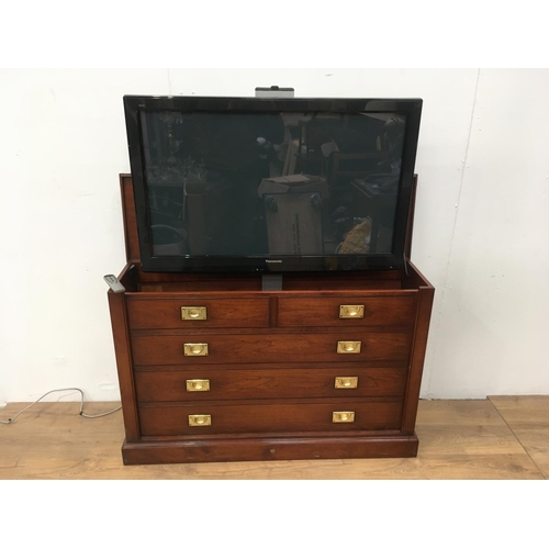 693 - A mahogany veneered TV Cabinet with 42 inch flatscreen TV on electric lifting motor 4ft 1in W x 3ft ...