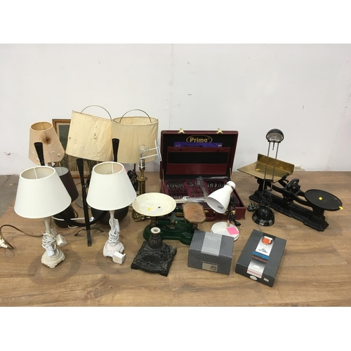 713 - Two boxes of Table Lamps, Scales, Brief Case, China, etc...