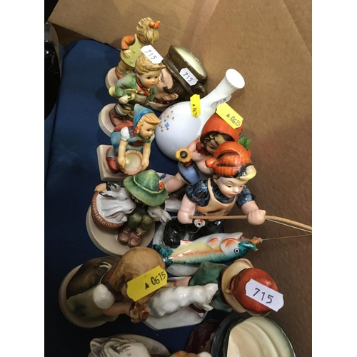 715 - A collection of Goebel and Friedel Figures, Royal Doulton Character Jugs and various Thimbles, etc...