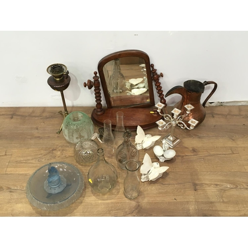 719 - Two boxes including a brass Oil Lamp and etched Shade, plated Candelabrum, mahogany Toilet Mirror A/...