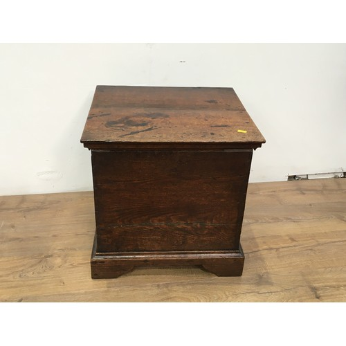 616 - A Georgian oak Cellerette with hinged lid enclosing a metal liner mounted upon bracket feet 1ft 7in ...