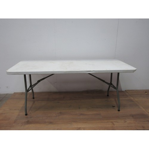 87 - Five folding Plastic Tables 5ft 11in W...