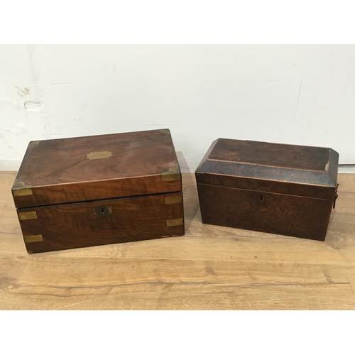 634 - A 19th Century burr yew veneered two division Tea Caddy 1ft W A/F and a 19th Century brass bound wal...