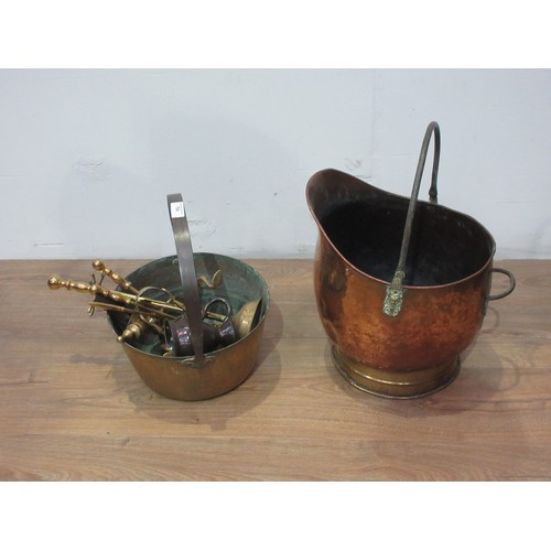 754 - A 19th Century copper Coal Scuttle 1ft 2in H, brass Jam Pan, Fire Companion Set and a copper measure...