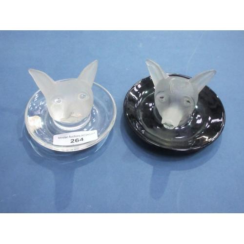 264 - Two glass fox head Trinket stands, 4in diam...