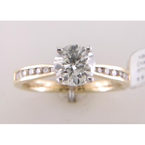 11113033 - Valued by IDI £35,730.00 - 18ct Yellow Gold Single Stone Diamond Ring With Stone Set Shoulders (1.11...