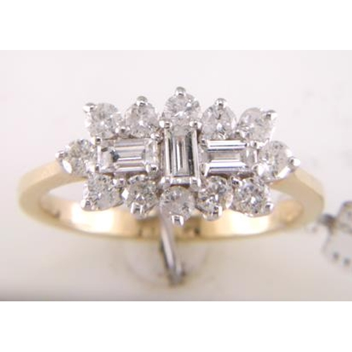 11172006 - Valued by GIE £7,950.00 - 18ct Yellow Gold Boat Shape Diamond Cluster Ring 1.00 Carats, Colour-D, Cl...